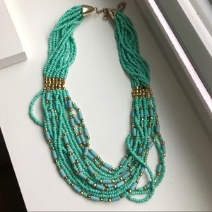 NWOT Turquoise/Sea Green Beaded Statement Necklace